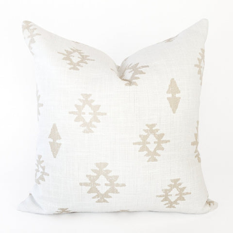 Viva Pillow, Parchment a beige southwestern motif on white from Tonic Living