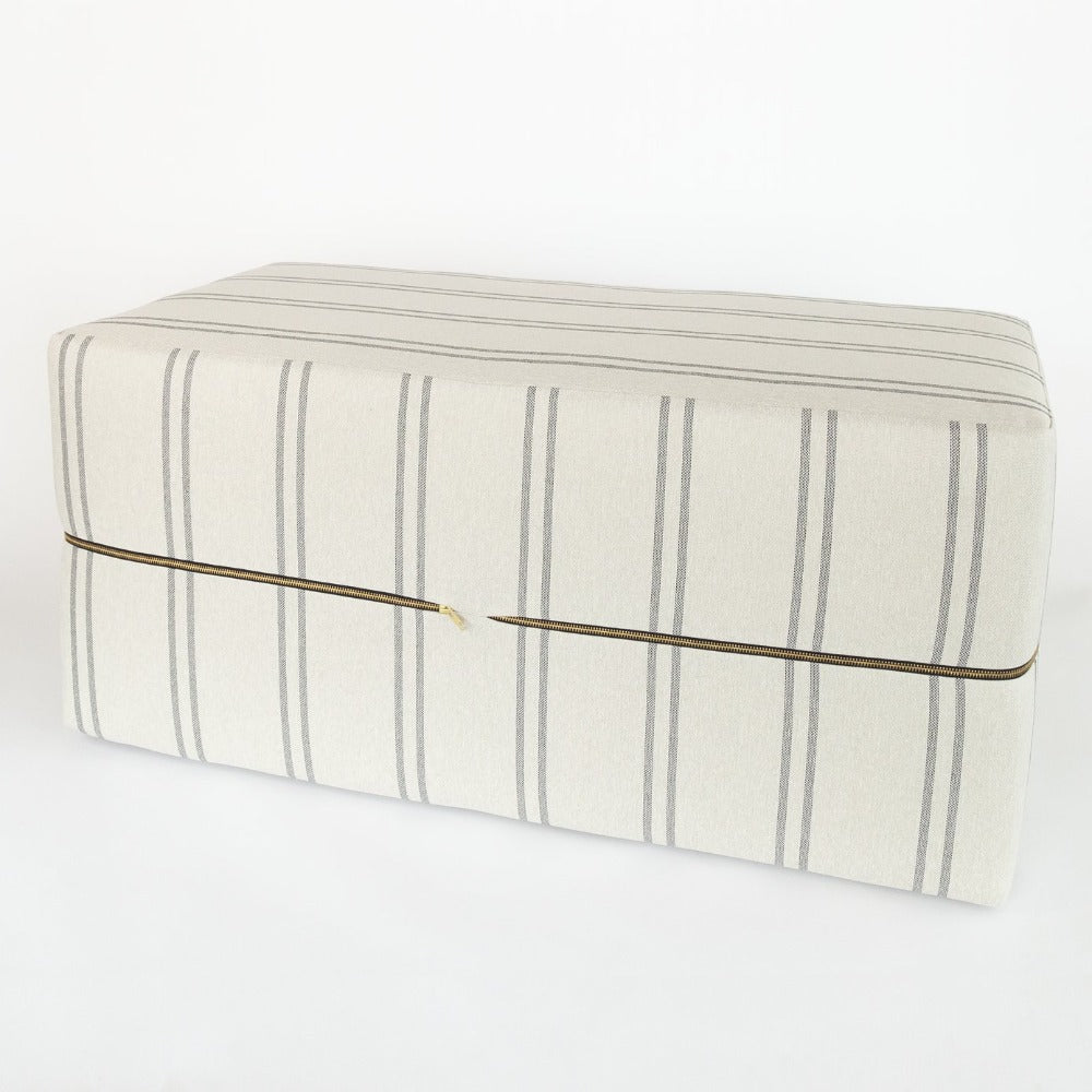 Vivien beige stripe ottoman bench from Tonic Living