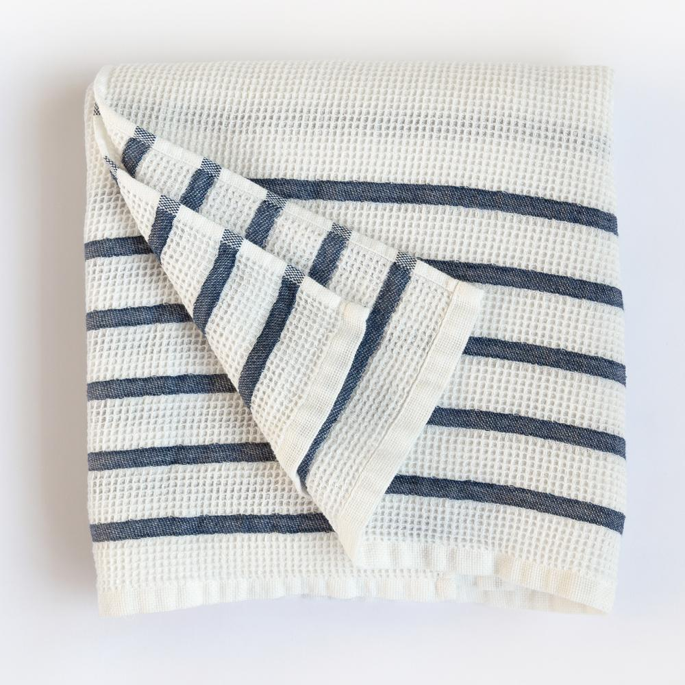 Waffle towel with washed navy stripe by Tonic Living