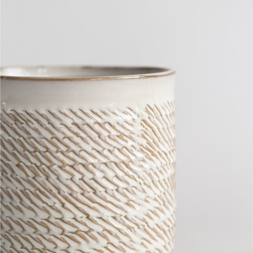 Wilma Ceramic Pot, A cream white and wheat colored textured glazed pot from Tonic Living