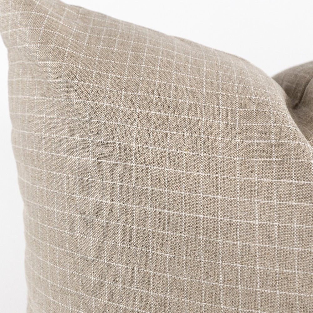 Windowpane 24x24 Pillow, Dune a cream and taupe neutral large pillow from Tonic Living
