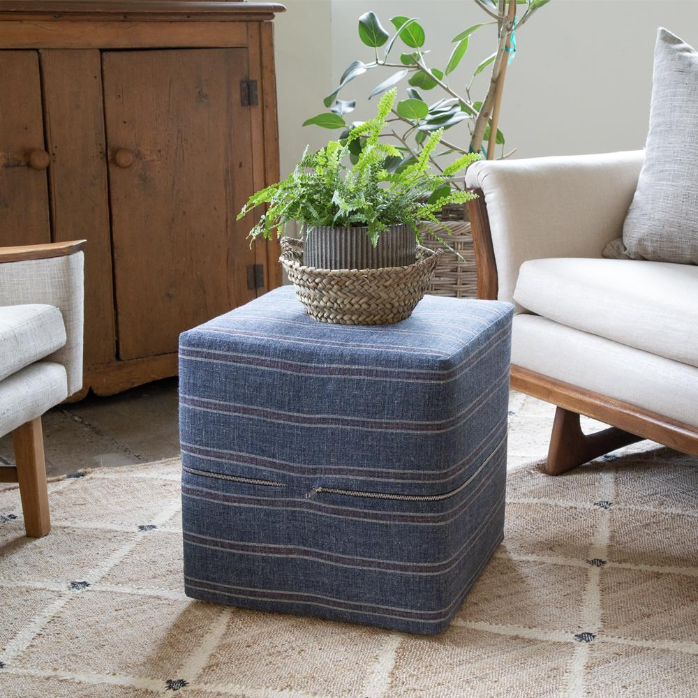 Coastal inspired blue stripe ottoman cube by Tonic Living