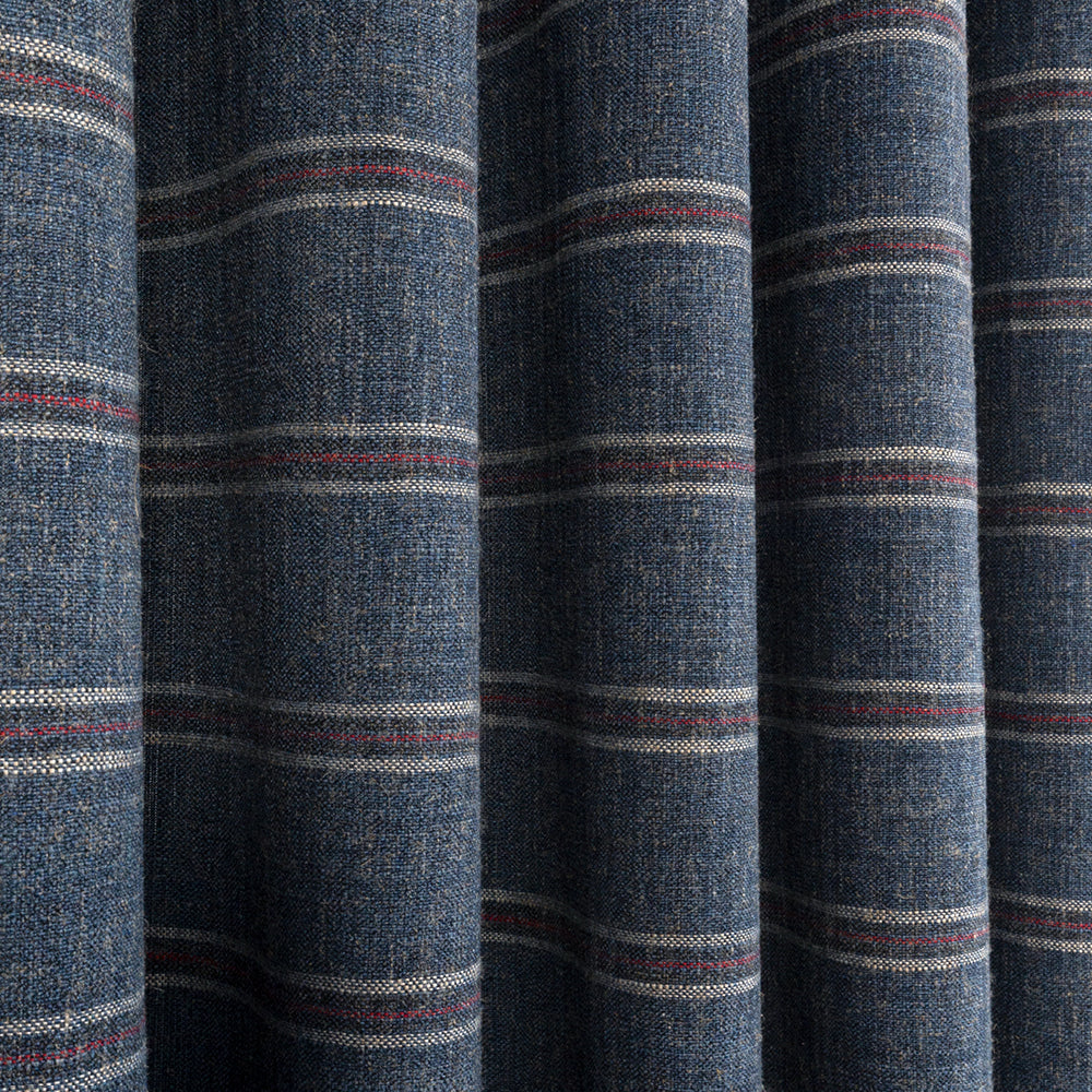 Yarmouth Stripe Lighthouse Blue, a deep blue fabric with a red and white stripe from Tonic Living