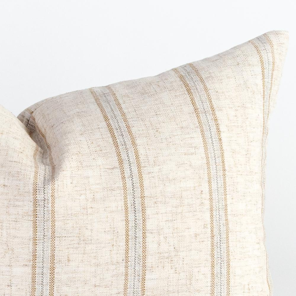 beige grey stripe lumbar pillow detail