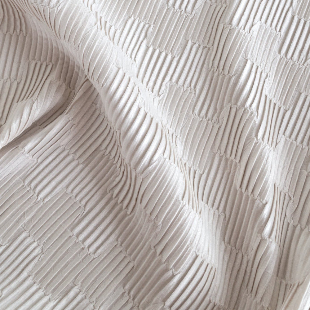 Zelda pleated velvet fabric in off white from Tonic Living