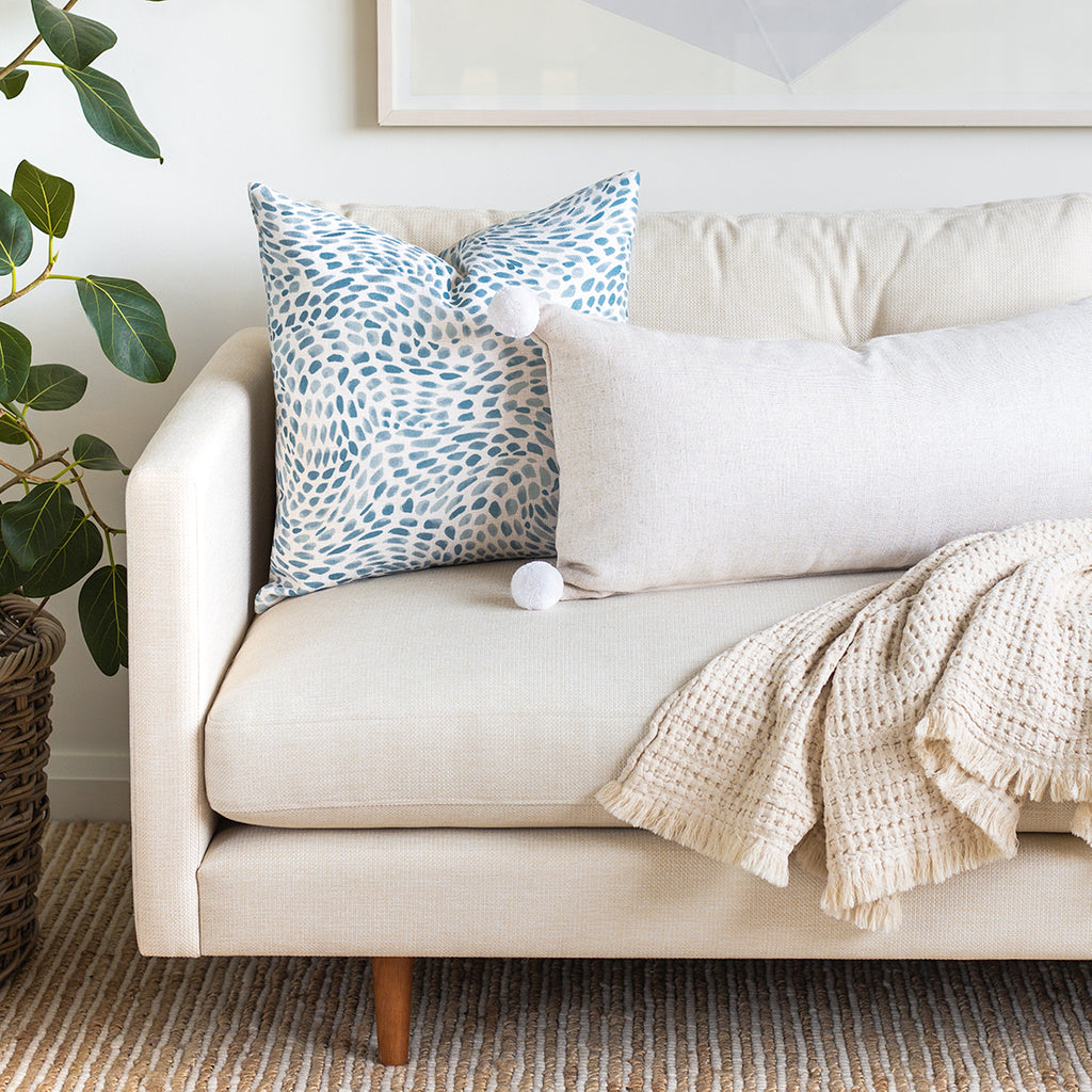 Adelaide Sand and Mazzy Seaside blue pillow combo from Tonic Living