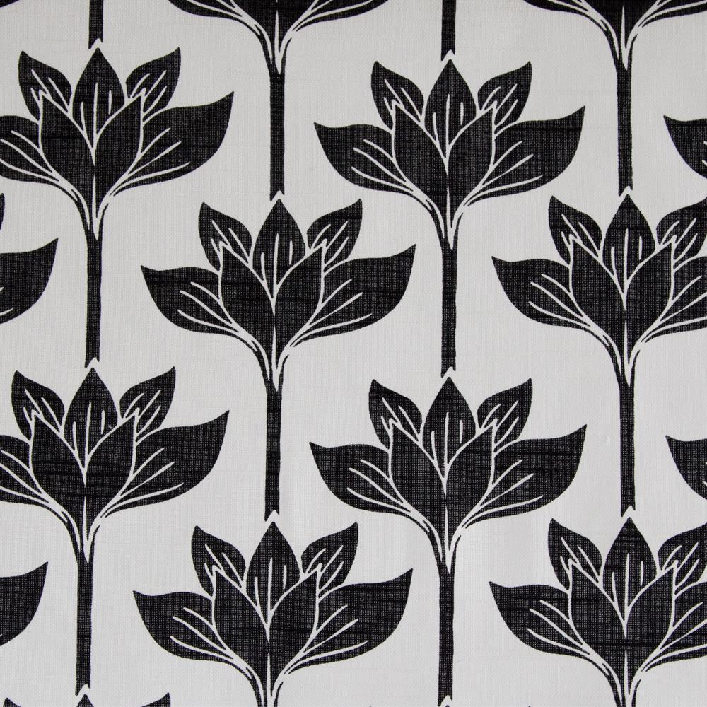 black and white floral drapery fabric lotus flowers tonic living