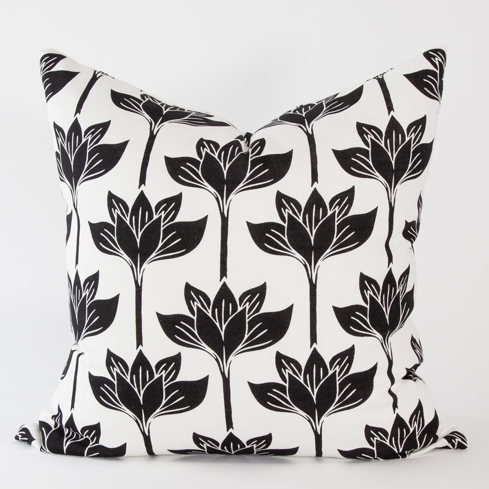 Alba Black and White Floral pillow