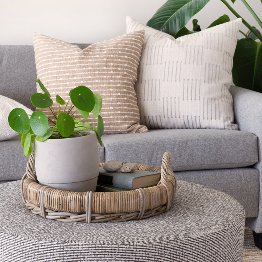 Neutral pillow combo and home decor from Tonic Living