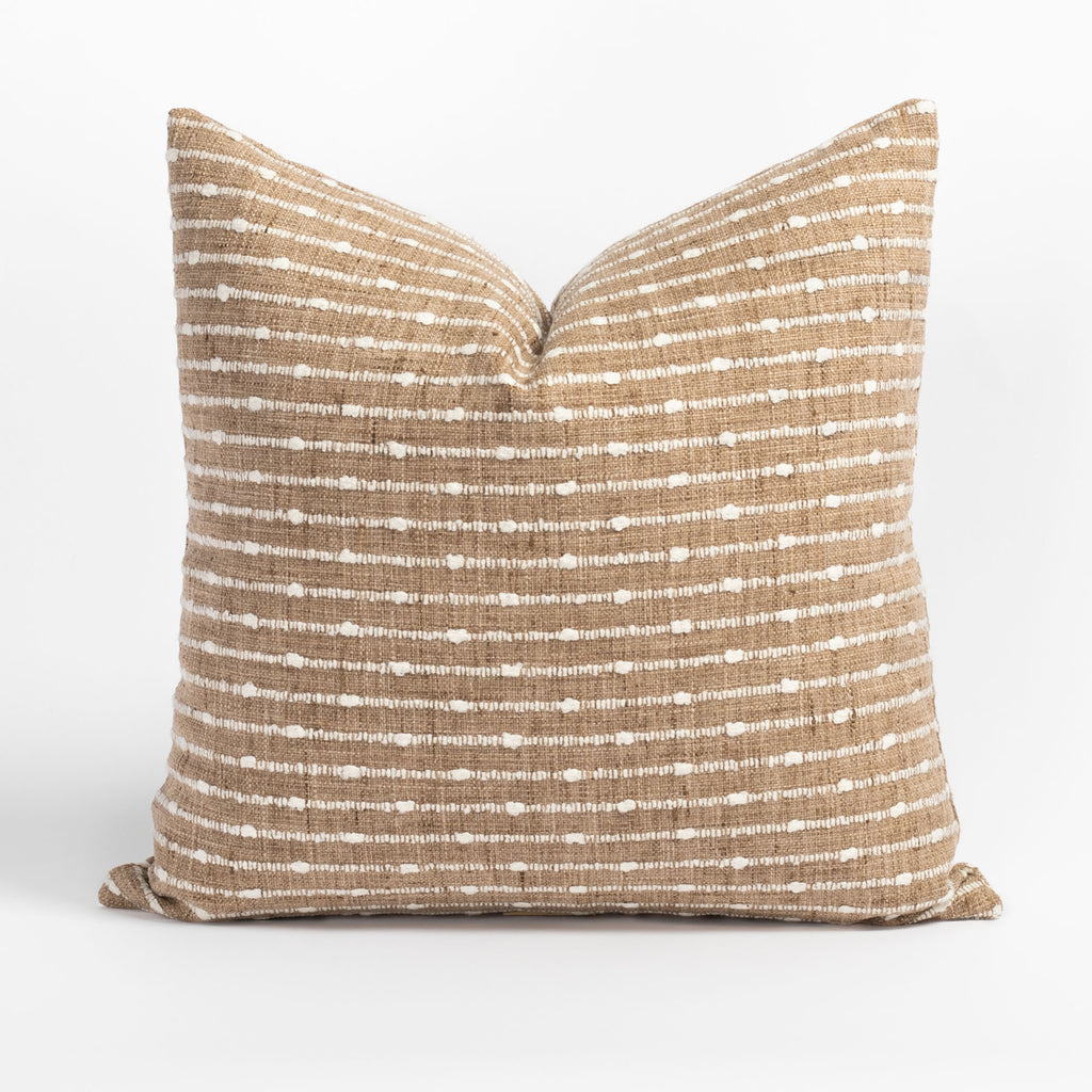Arren Burlap, a camel pillow with cream horizontal stripes from Tonic Living