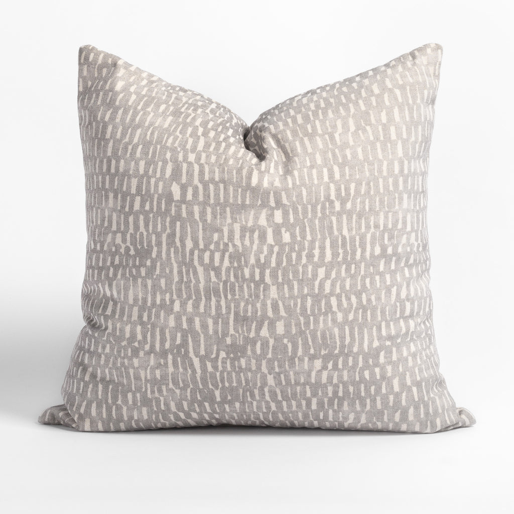 Avareno 20x20 pillow silver, a light grey and sandy beige small scale abstract print pillow from Tonic Living