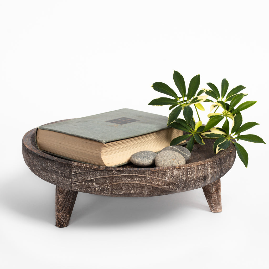 Batam wood footed display tray : book, stones and plant cutting in tray
