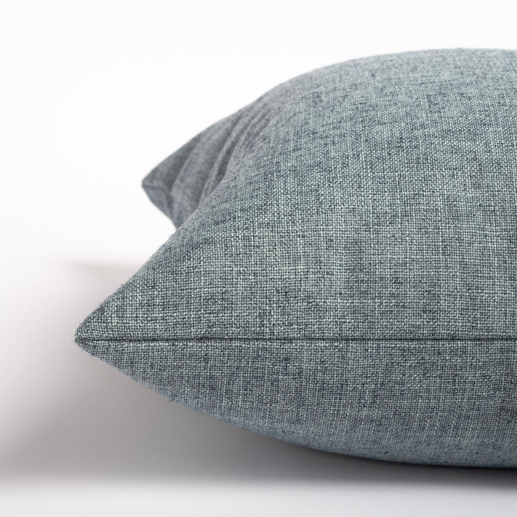 chambray blue throw pillow detail