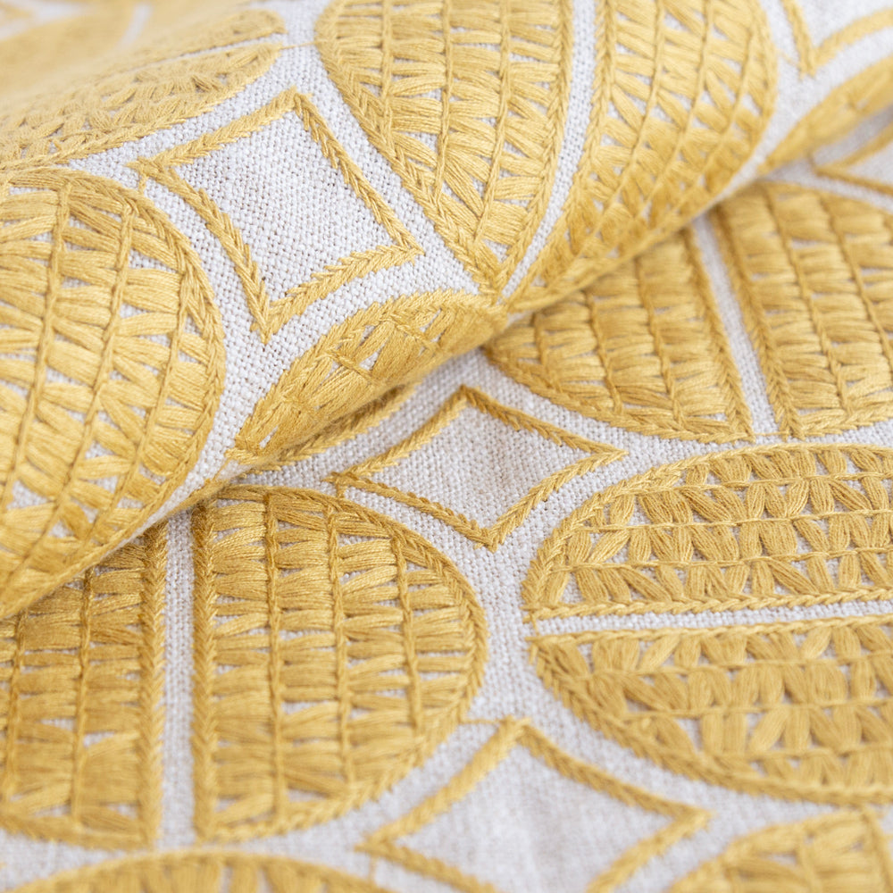 Berken yellow gold medallion embroidered fabric from Tonic Living