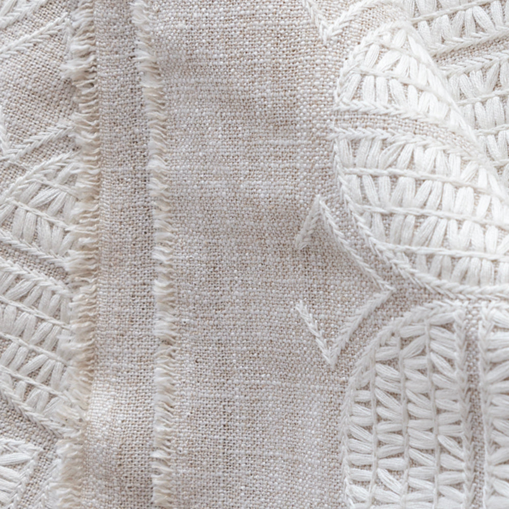 Berken white and natural medallion embroidered fabric from Tonic Living