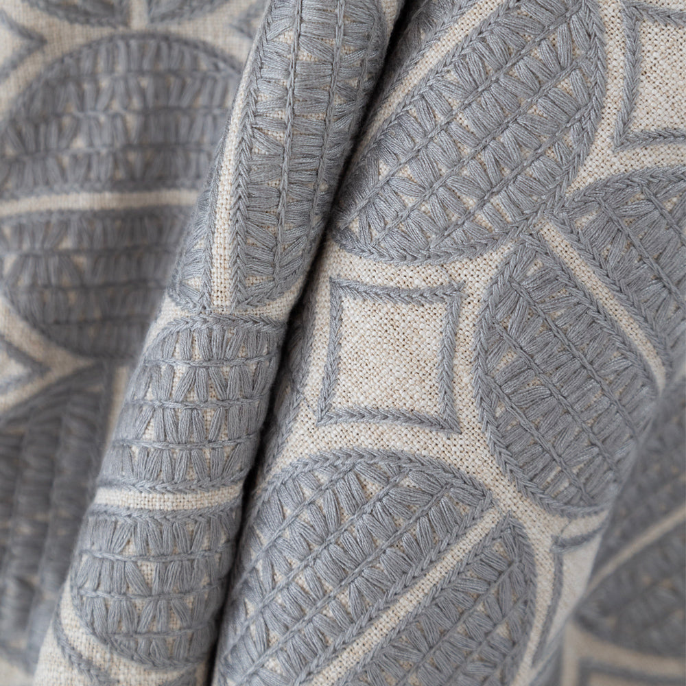 Berken gray medallion embroidered fabric from Tonic Living