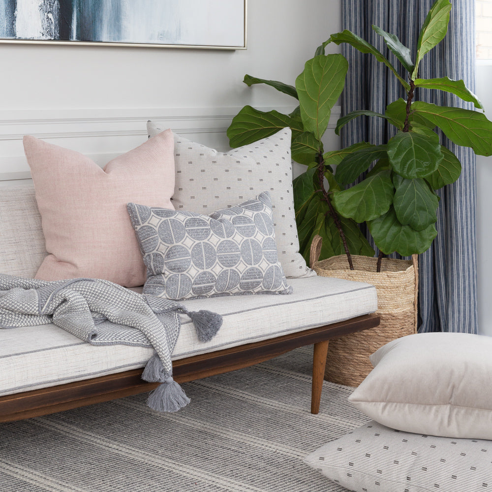 Gray and pink pillow combo from Tonic Living