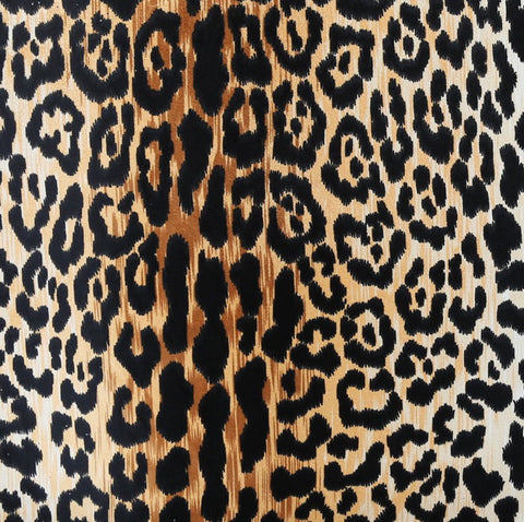 Leopard print fabric in warm caramel gold with black and with a soft velvety touch. Preorder now! @tonicliving