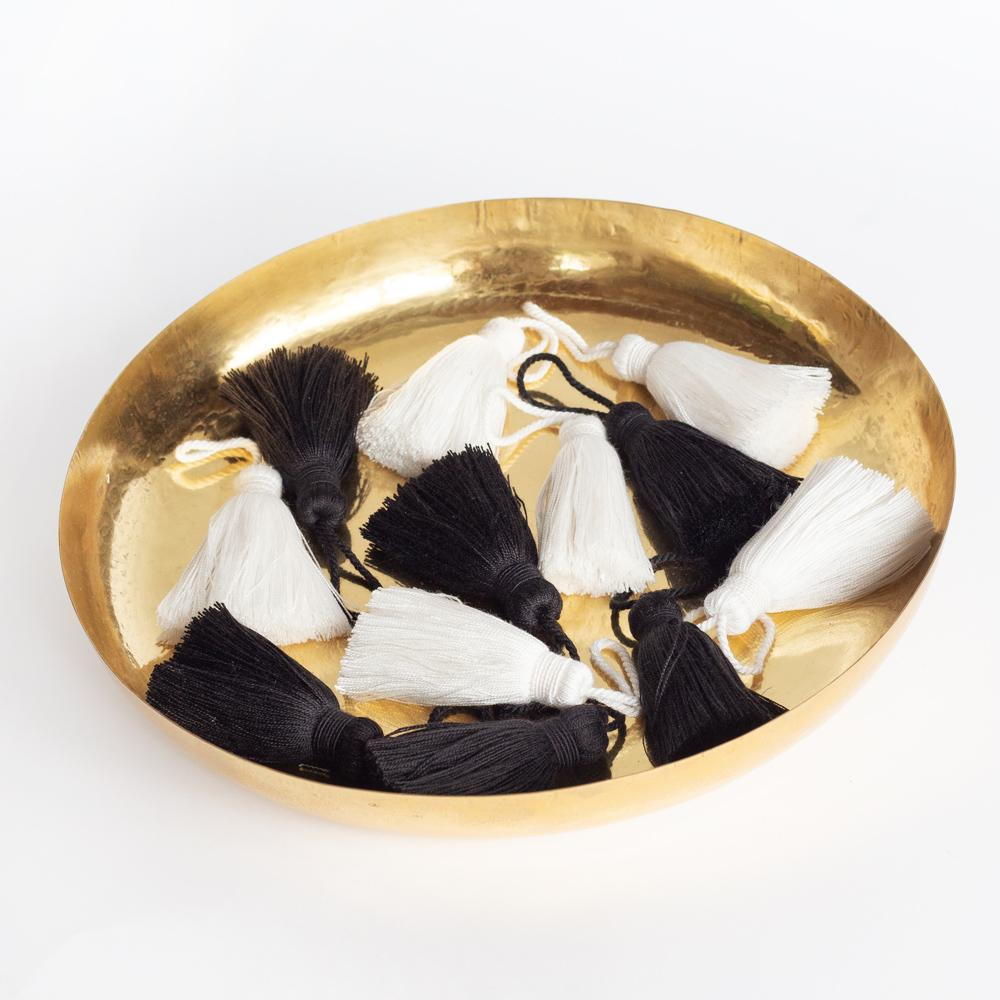 Tassel trim and Priya brass tray from Tonic Living