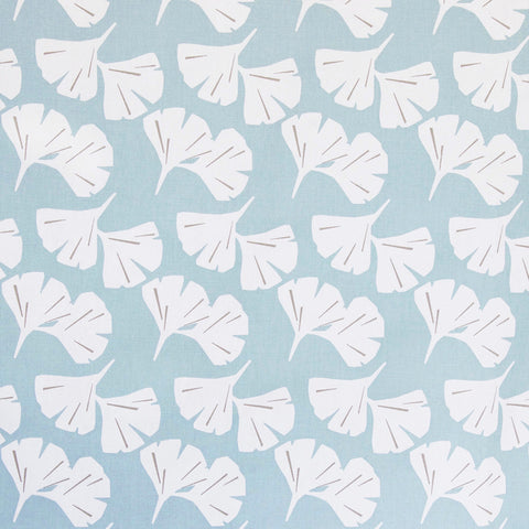 A ginkgo leaf fabric in a soft sky blue and white. Suitable for upholstery, drapery, curtains, roman blinds, cushions, pillows and other home decor accessories.