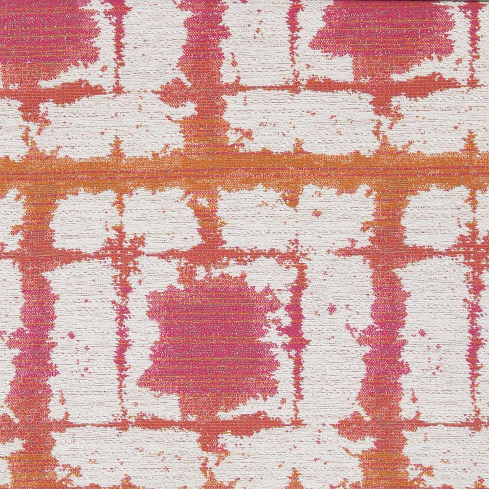 Caspian, Fiesta - An indoor/outdoor fabric with a happy mix of juicy orange, hot fuchsia pink and cream.