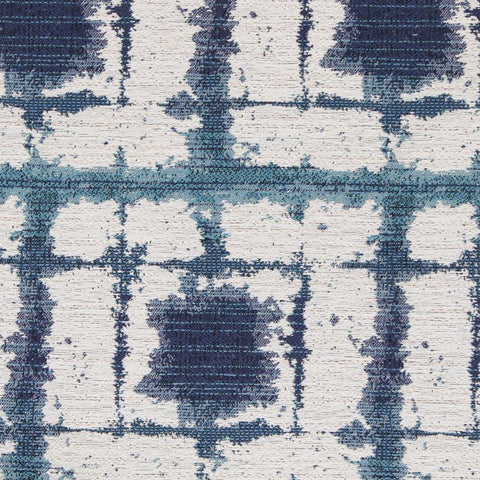 Caspian, Lagoon - An indoor/outdoor fabric with inky indigo blue and an aqua ocean blue on off white cream.