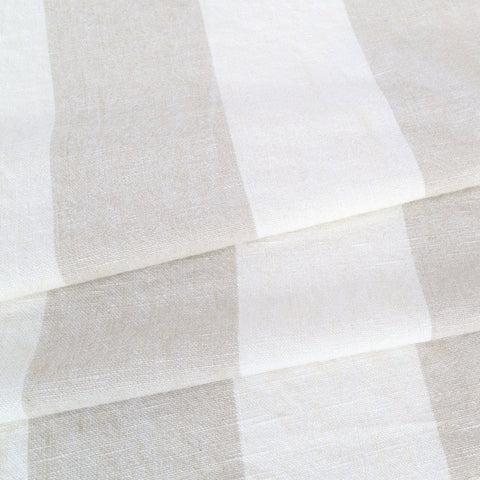 Charlie stripe beige linen cotton fabric from Tonic Living