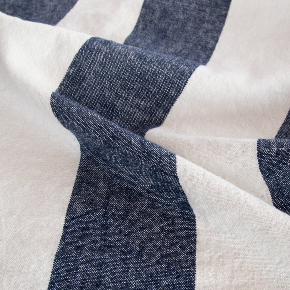 Charlie navy stripe linen blend summer fabric from Tonic Living