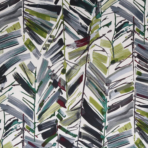 Chillin Out, Evening Sky - Tonic Living Fabric - A moody, brush stroke fabric with inky colours of deep garnet red, balsam and fern green and dark charcoal grey on a creamy off white background.