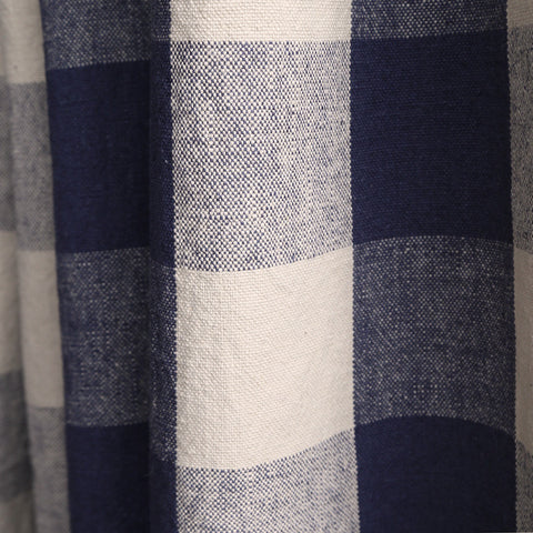Claiborne Check, Indigo- A hearty, washed buffalo check Ellen Degeneres fabric in Indigo blue and sandy beige.