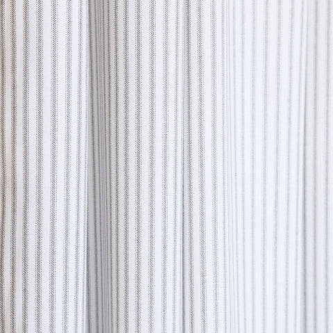 A classic, grey and white striped fabric. Suitable for upholstery, drapery, curtains, roman blinds, cushions, pillows and other home decor accessories.