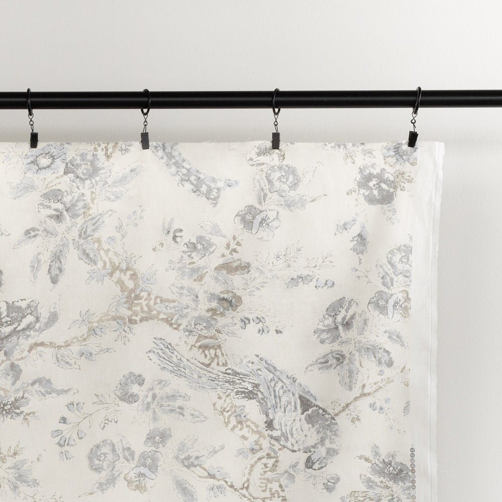 Colette Flint, a painterly cream and warm grey floral and bird print linen drapery fabric : view 2