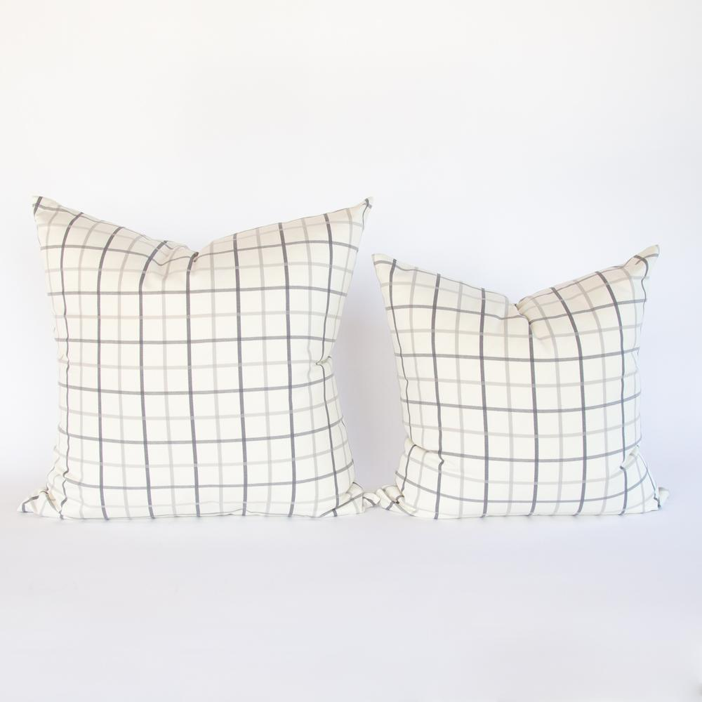 Colton gray and cream windowpane pillows from Tonic Living