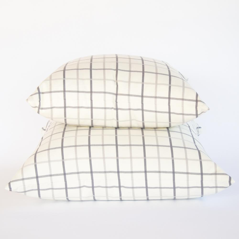 Colton gray and cream windowpane large pillow from Tonic Living