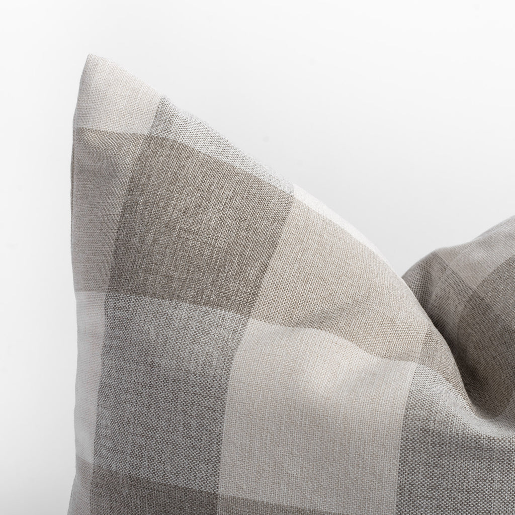 Cottage Check, a cream and taupe buffalo check pillow : close up view