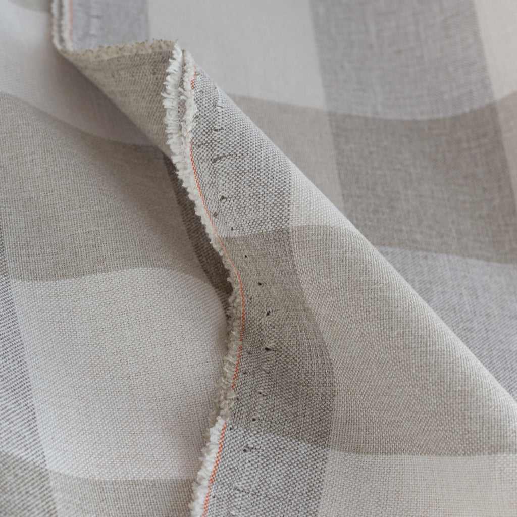 Cottage Check Fabric, a cream and taupe buffalo check home decor fabric from Tonic Living