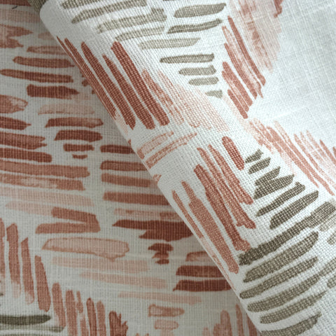 Creel, Sunset - A beautiful, linen fabric in sunset tones of coral, salmon, and blush pink as well as taupe on a creamy white background.