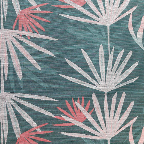 Dabito, Calypso - A fun palm leaf print by Justina Blakeney Home. The colours are emerald teal green, peach and coral pink.
