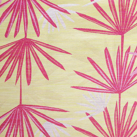 Dabito, Confetti - A fun palm leaf print by Justina Blakeney Home. The colours are coral pink, orange and yellow gold.