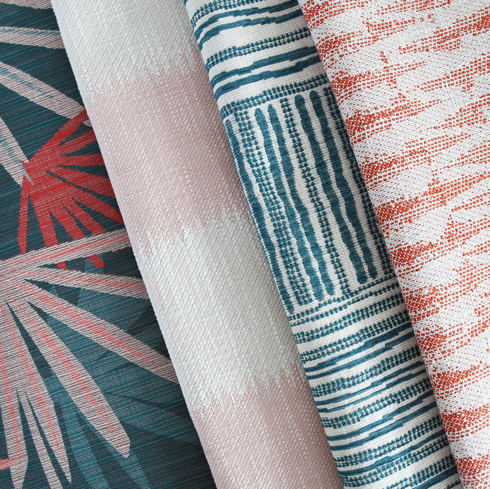 A palm leaf print fabric by Justina Blakeney Home.