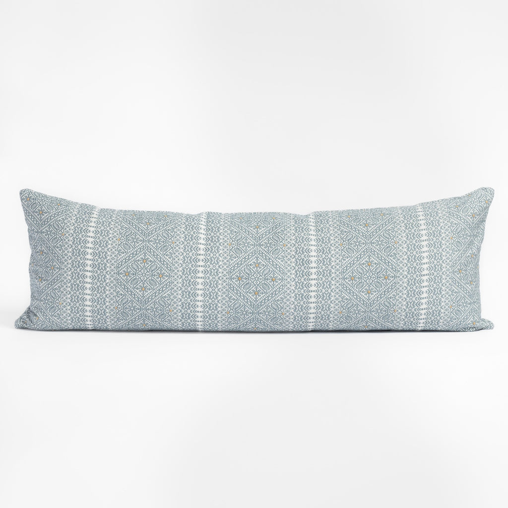 Delilah Stone Blue and white intricate brocade pattern bolster bed pillow