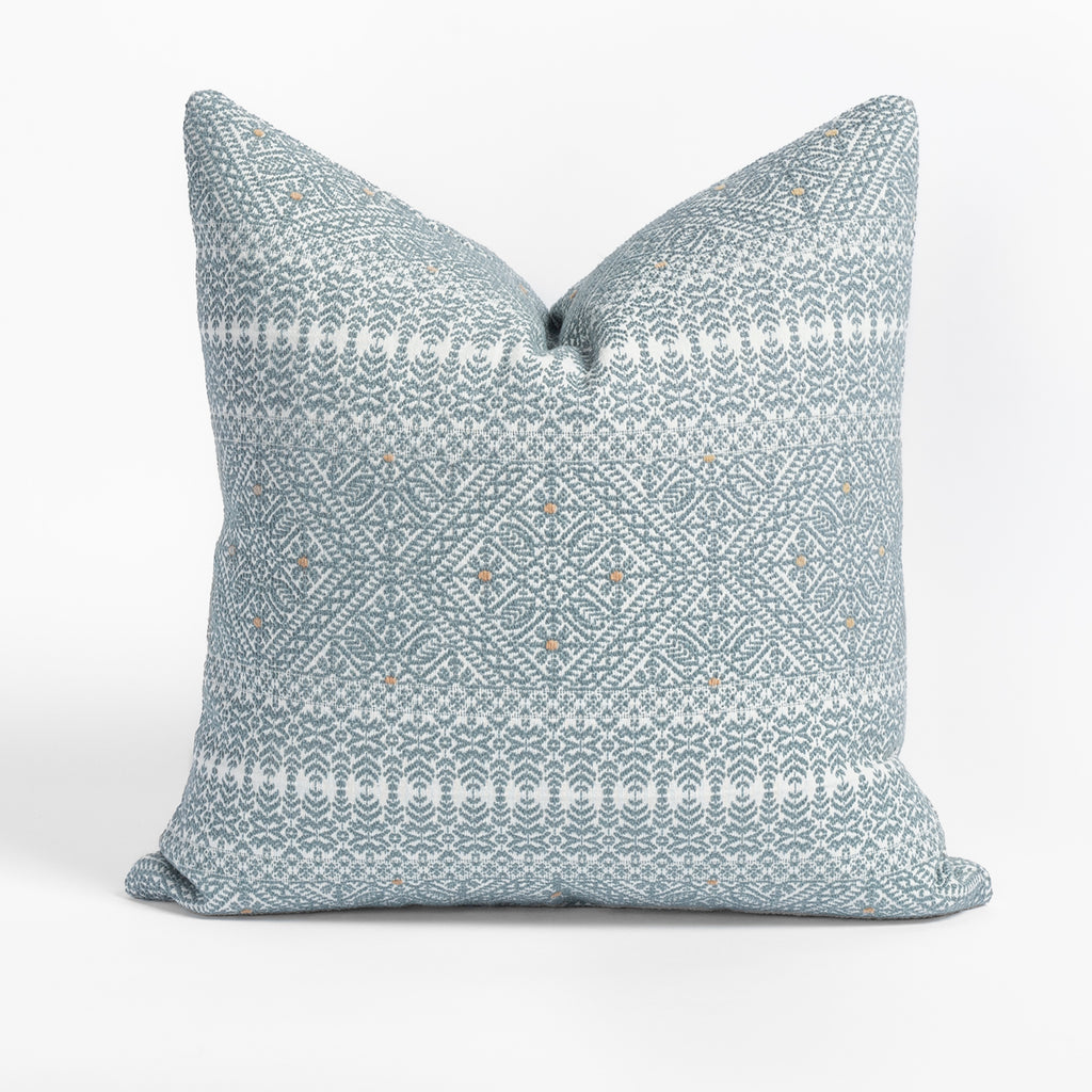 Delilah Stone Blue Pillow, a blue and white intricate lace pattern pillow from Tonic Living