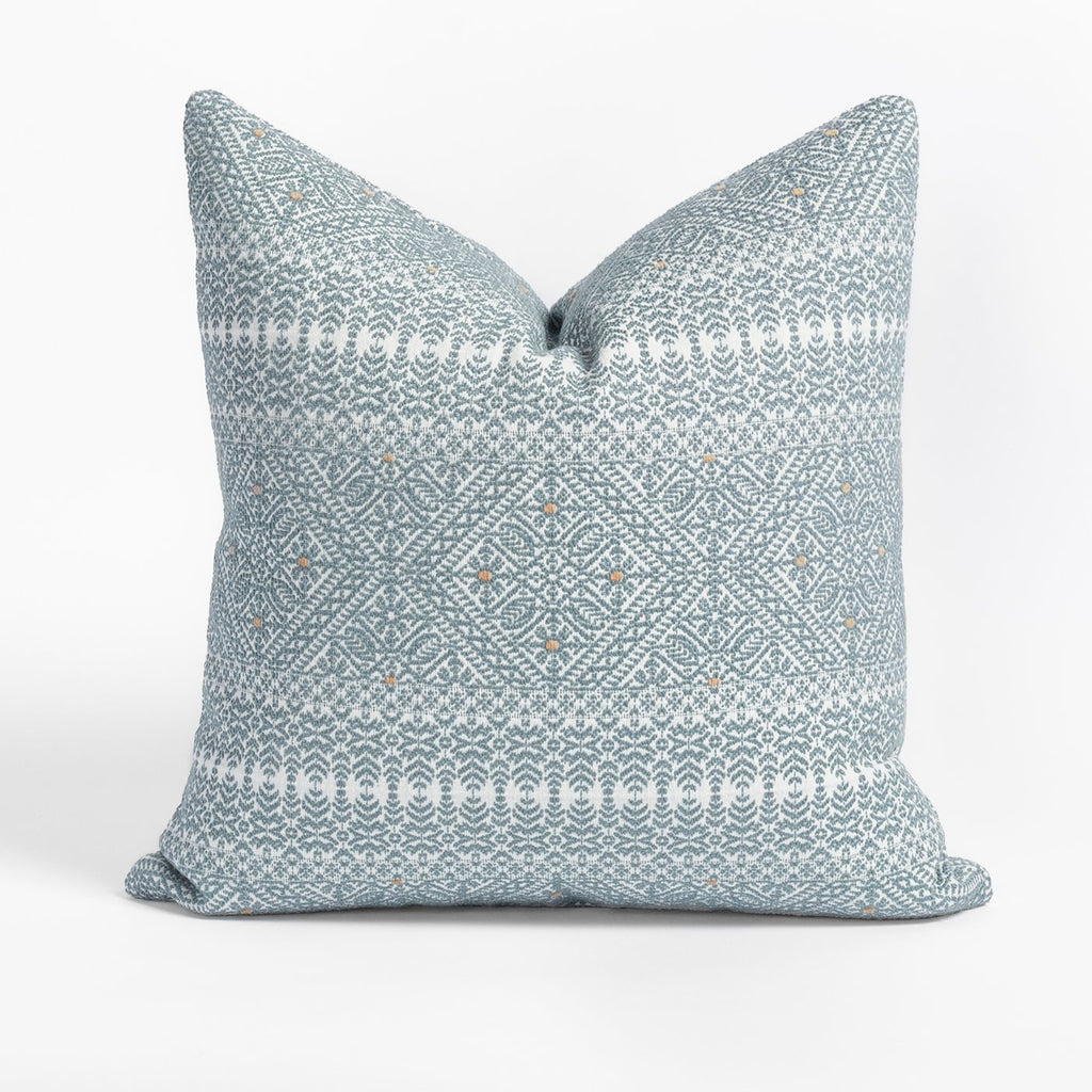 Delilah Stone Blue and white intricate brocade pattern pillow