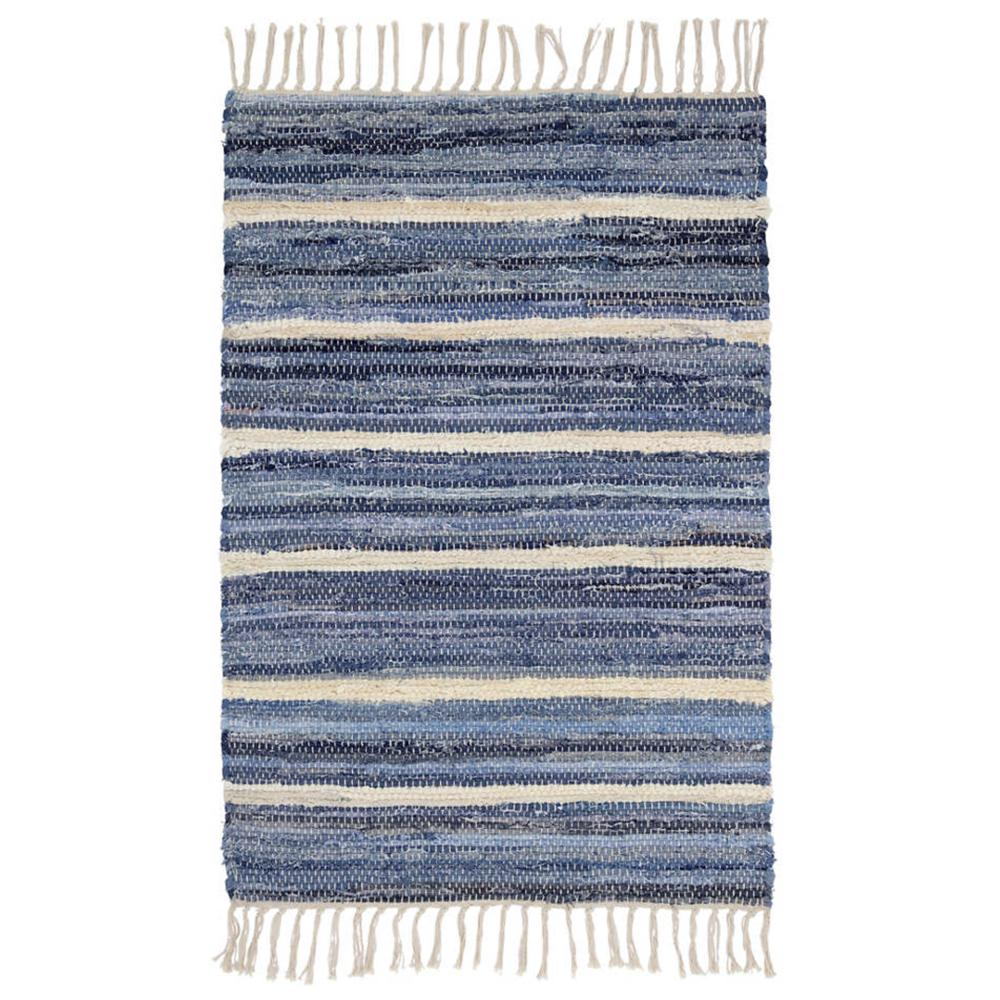 Denim blue stripe rag rug by Dash and Albert available at Tonic Living