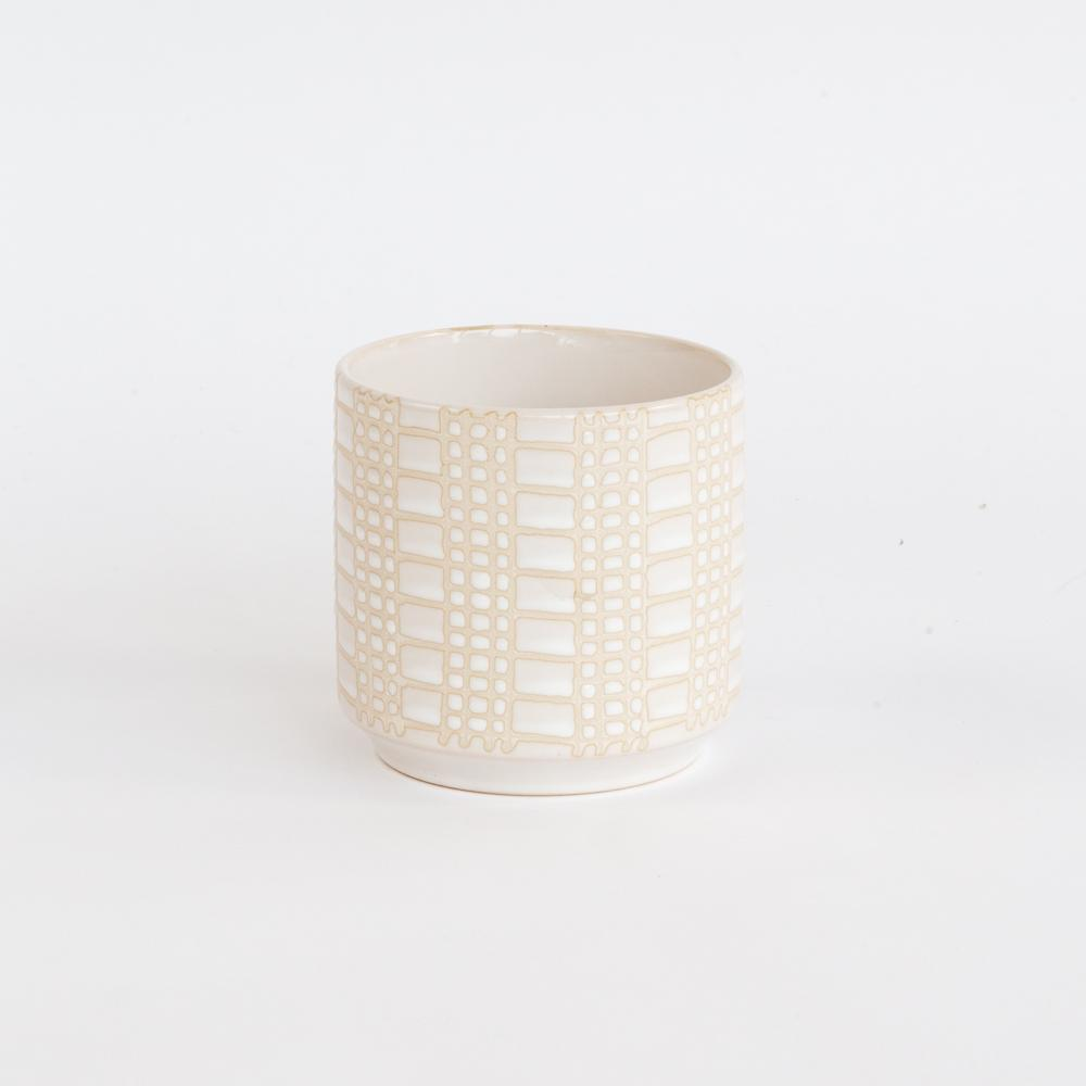Dotti small cream ceramic plant pot with a dot dash pattern from Tonic Living