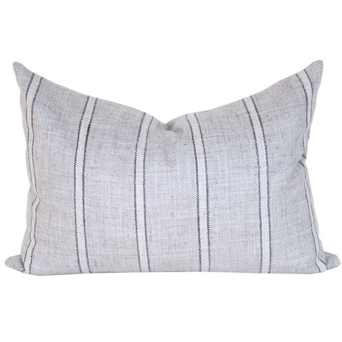 Draper Stripe, Grey - A grey striped lumbar pillow