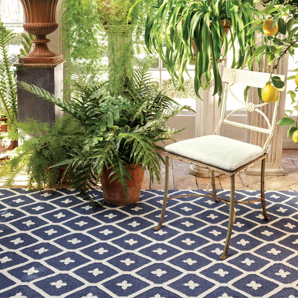 elizabeth navy indoor outdoor dash and albert rug at tonic living
