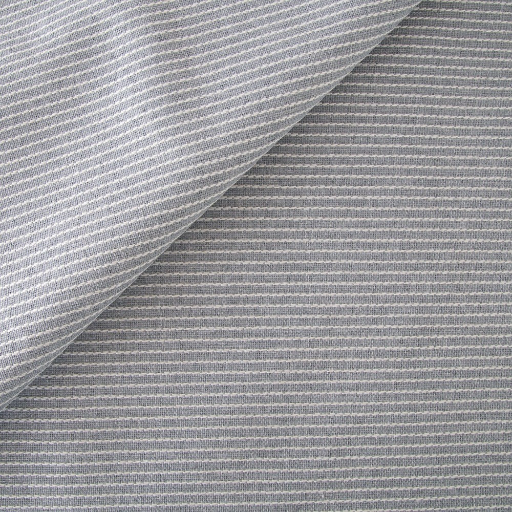 Elmira grey blue embroidered stripe high performance fabric