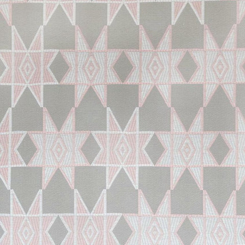 Estrella, Blush - A whimsical geometric star fabric in blush pink and soft grey by Justina Blakeney Home.