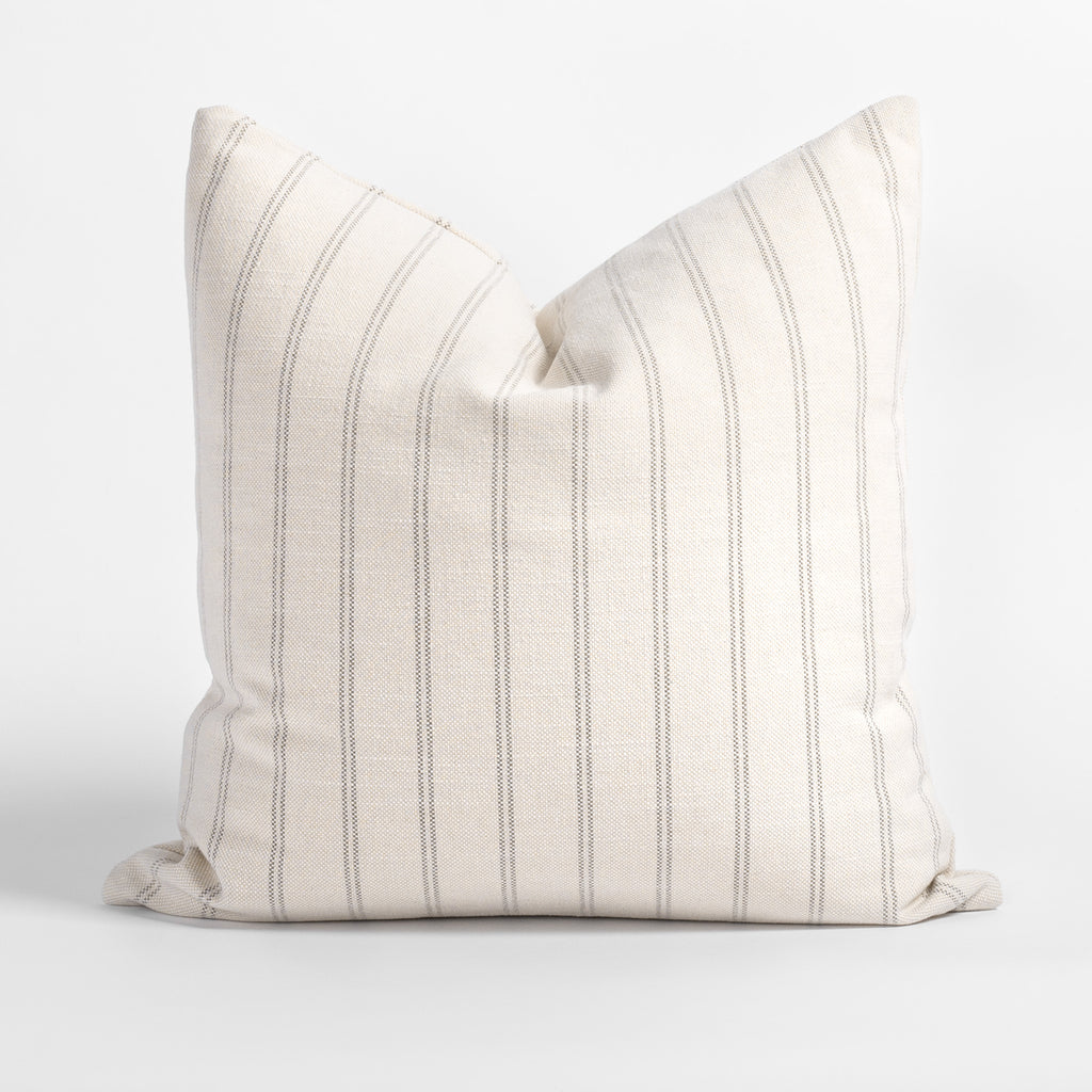 Farina 20x20 Pillow Birch, a cream and warm gray vertical striped pillow from Tonic Living